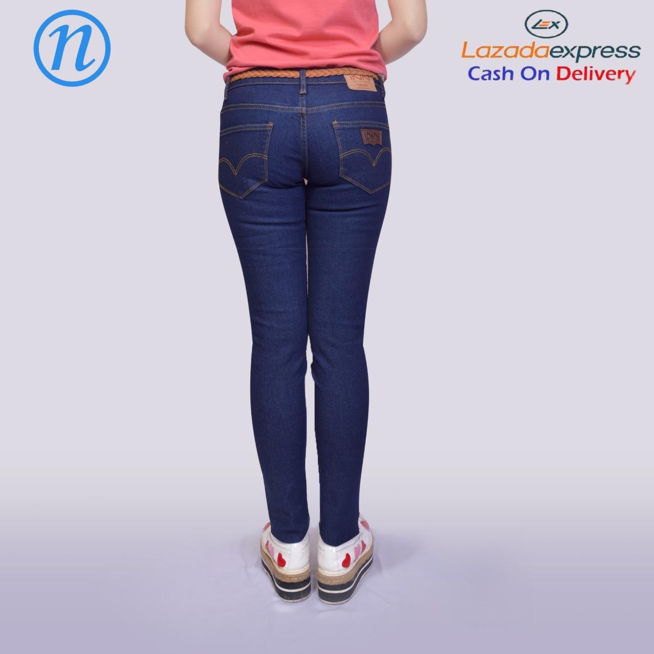 Celana Jeans Wanita Fashion Pakaian Blezer Jas Bawahan Wanita Skinny Street Soft Jeans - 3