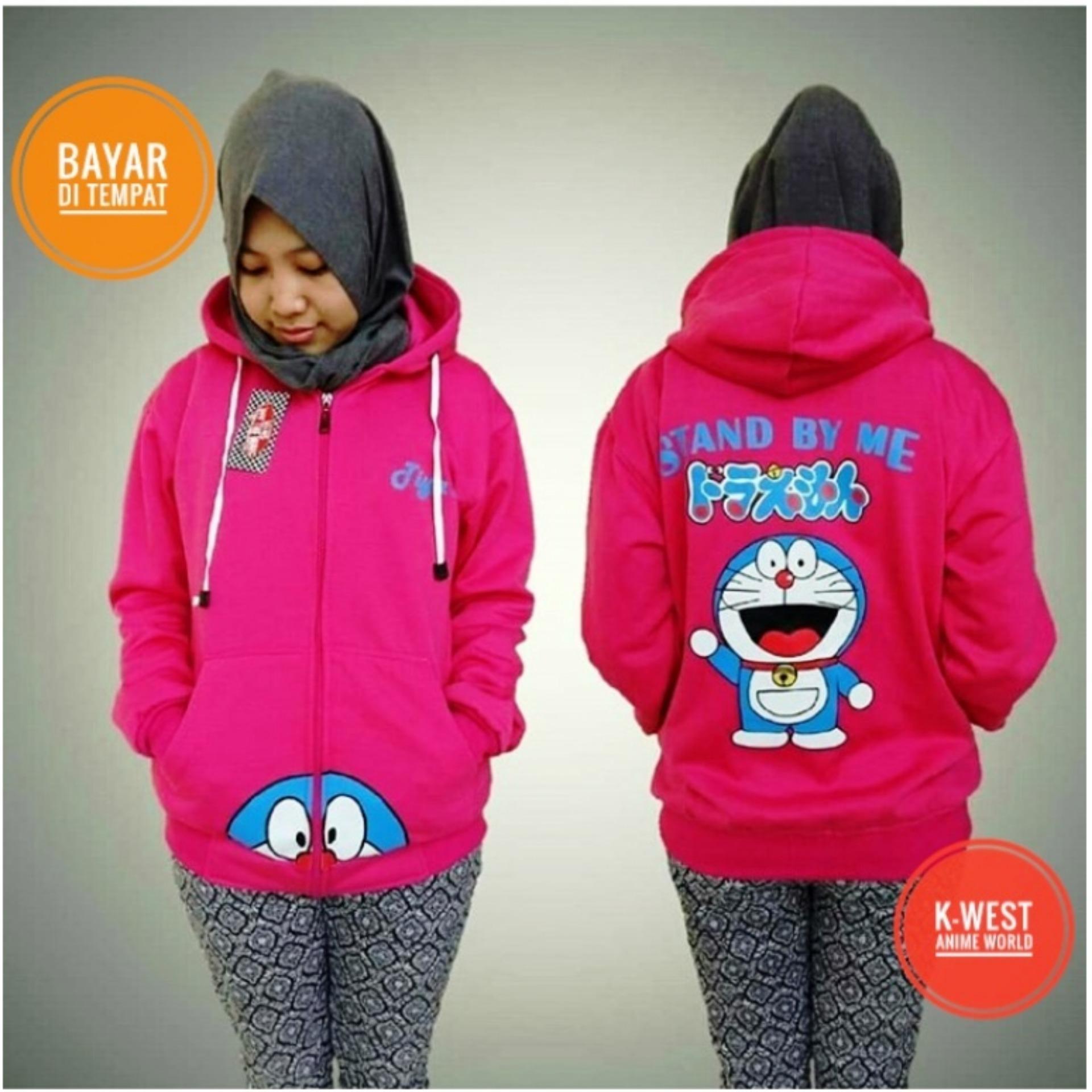 Jaket Sweater Doraemon Pink Hoodie Zipper