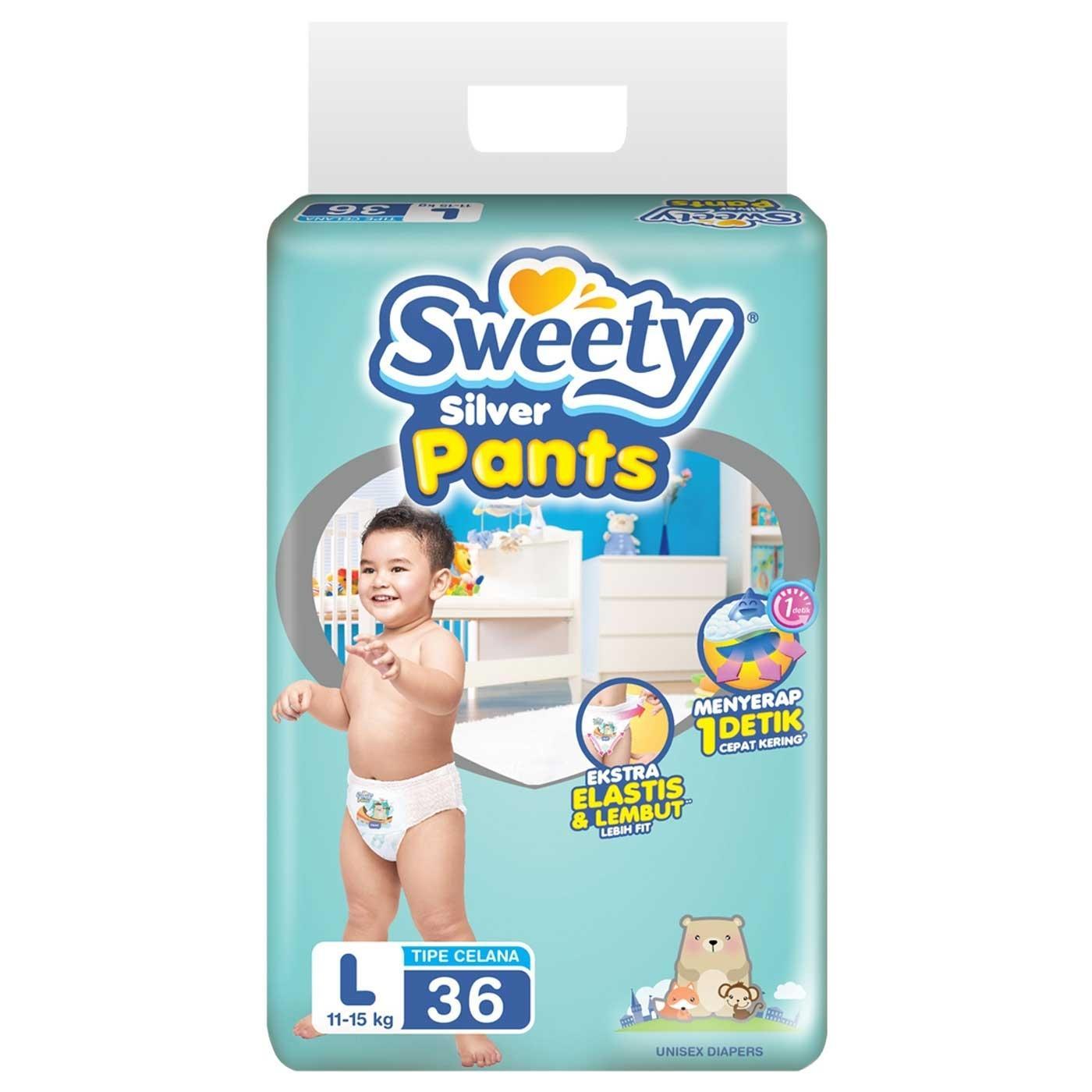 Diskon Sweety Diapers Silver Pants L 36 Sweety