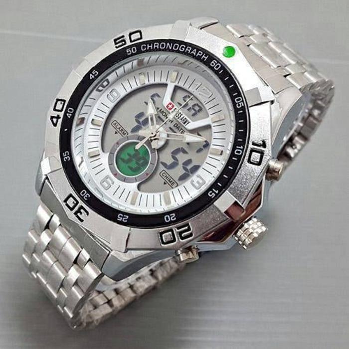 Beli Swiss Time Army Fashion Indigo Dual Time Jam Tangan Pria Strap Rantai Sa 085 Lb Pake Kartu Kredit