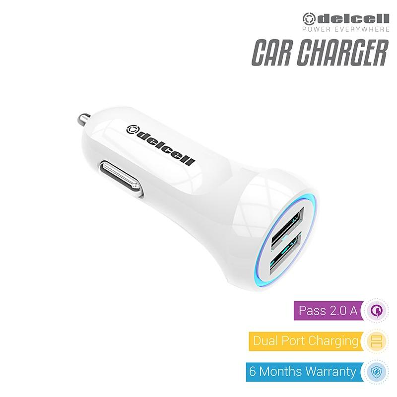 Review Terbaik Delcell Car Charger Dual Output 2 2 Ampere Putih