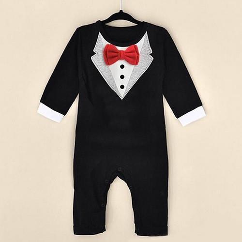 Phoenix B2C  Baby Boy Fashion lengan panjang celana kodok V kerah pola ikatan simpul Rompers - 3