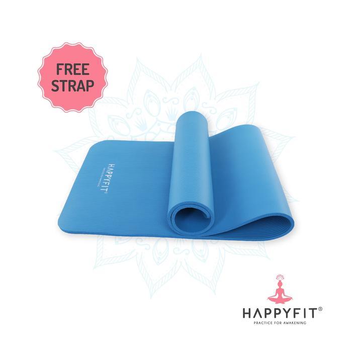 Detail Gambar HAPPYFIT NBR 10mm Yoga Matt BLUE / Matras Senam / Matras Yoga Tebal 10 mm Terbaru