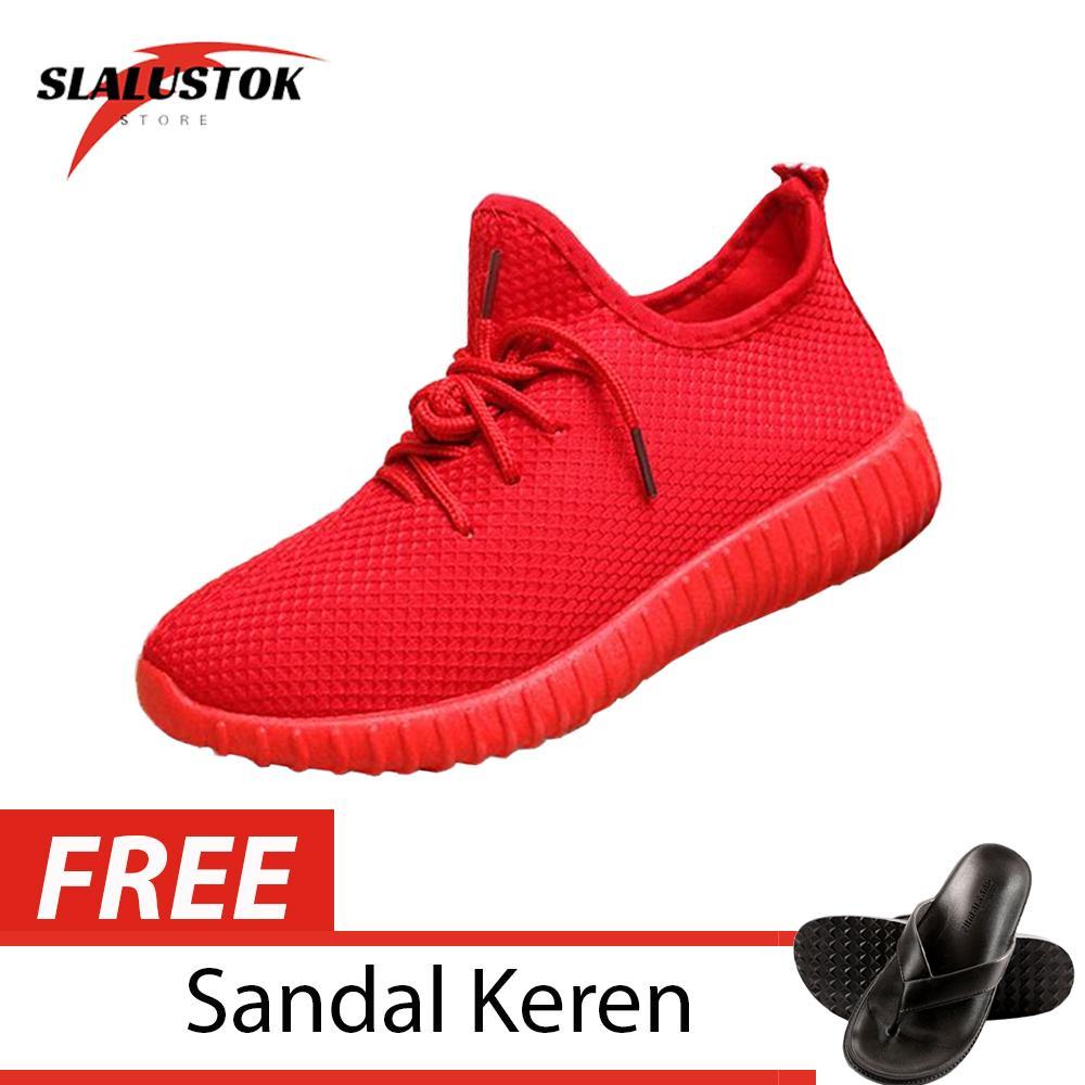Slalustok Store Sepatu Pria danWanita - Sepatu Kets Sneaker YZ Merah + FREE Sandal Casual Santai