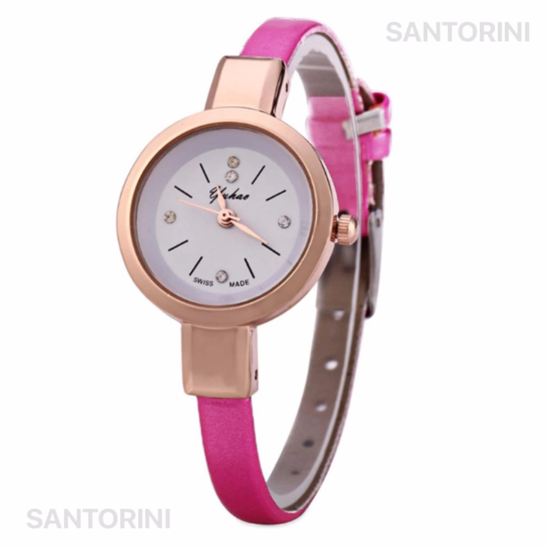 YUHAO Jam Tangan Kulit Fashion Analog Wanita Diamon Style Women Leather Strap Watch - PINK