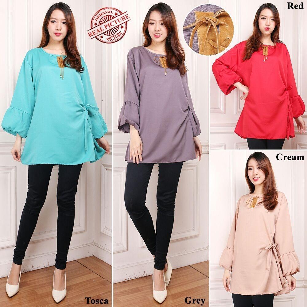 Glow Fashion Atasan blouse kemeja tunik wanita jumbo shirt blus long tunik Chiki