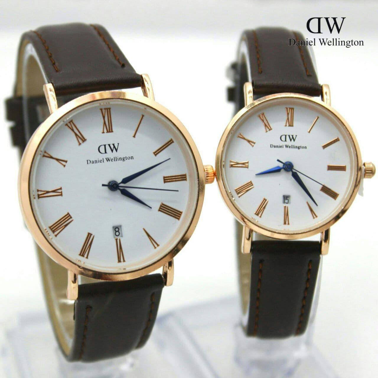 Jam Tangan DANIEL WELLINGTON COUPLE ROMAWI JARUM BIRU KULIT