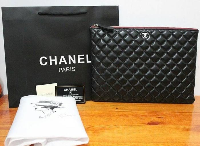 JUAL CHANEL LARGE CASE CLUTCH BLACK MIRROR QUALITY 1:1 WITH ORIGINAL
