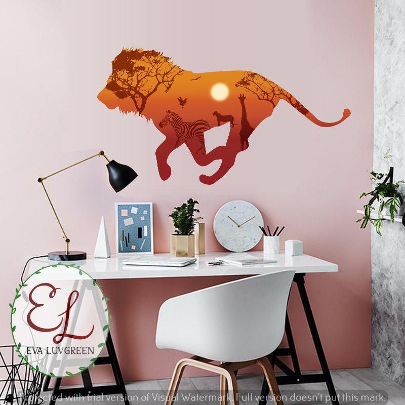 Detail Gambar Eva Luvgreen Wallsticker Singa Wild African Ukuran 60x90cm/ Stiker Dinding/ Stiker Tembok/ Wallpaper Sticker/ Wall Paper Sticker/ Wall Sticker ...