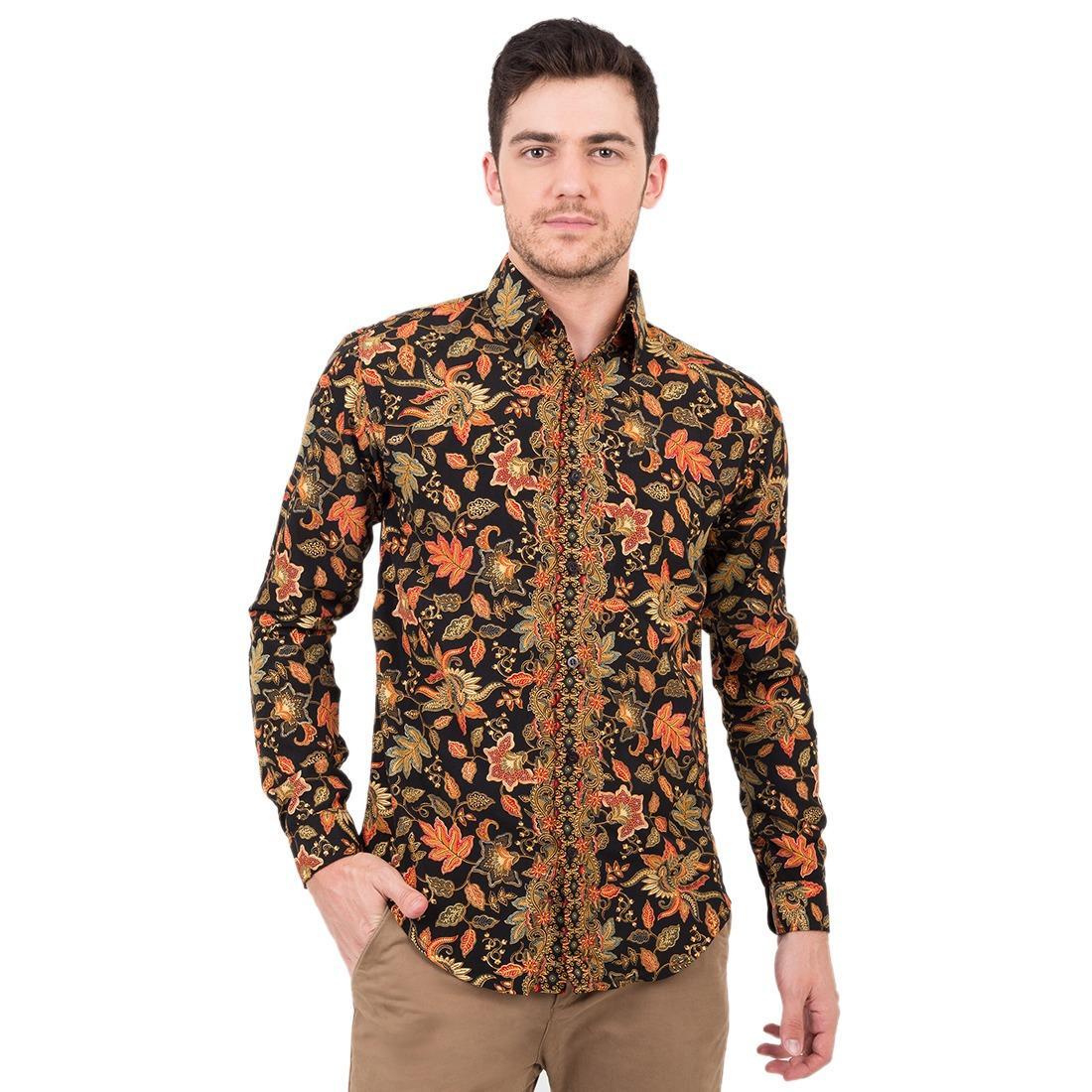 Harga Batik Flike Store Kemeja Lengan Panjang Black Cendrawasih Flike Store Terbaik