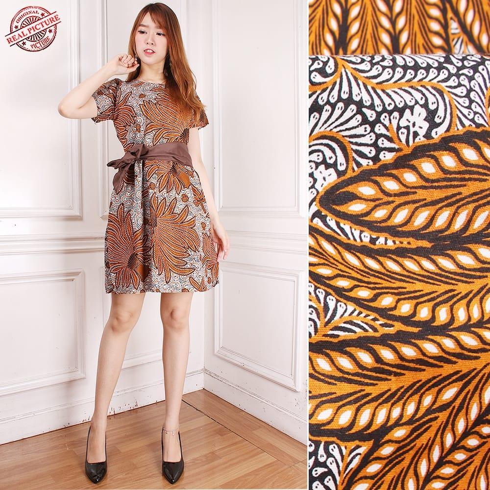 SB Collection Midi Dress Alifia Shortdress Pendek Casual Modern Batik Wanita  All Size Cokelat c0f732e448
