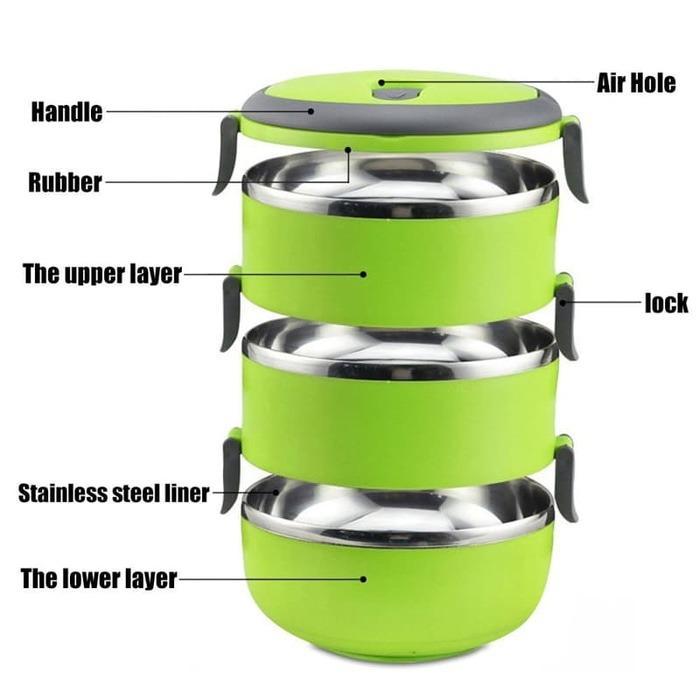 ... Rantang 3 susun polos lunch box tempat makan lauk sayur stainless- Biru - 3 ...