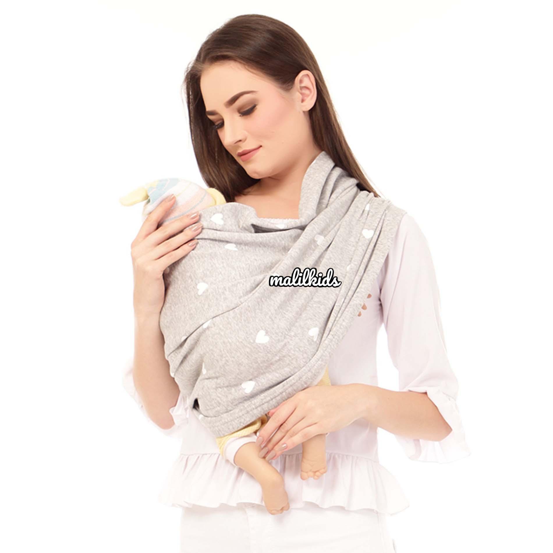 Detail Gambar Gratis Pouch! Size S - Malilkids Geos / Gendongan Kaos Premium / Gendongan Instan - Model Big Love Grey Terkini