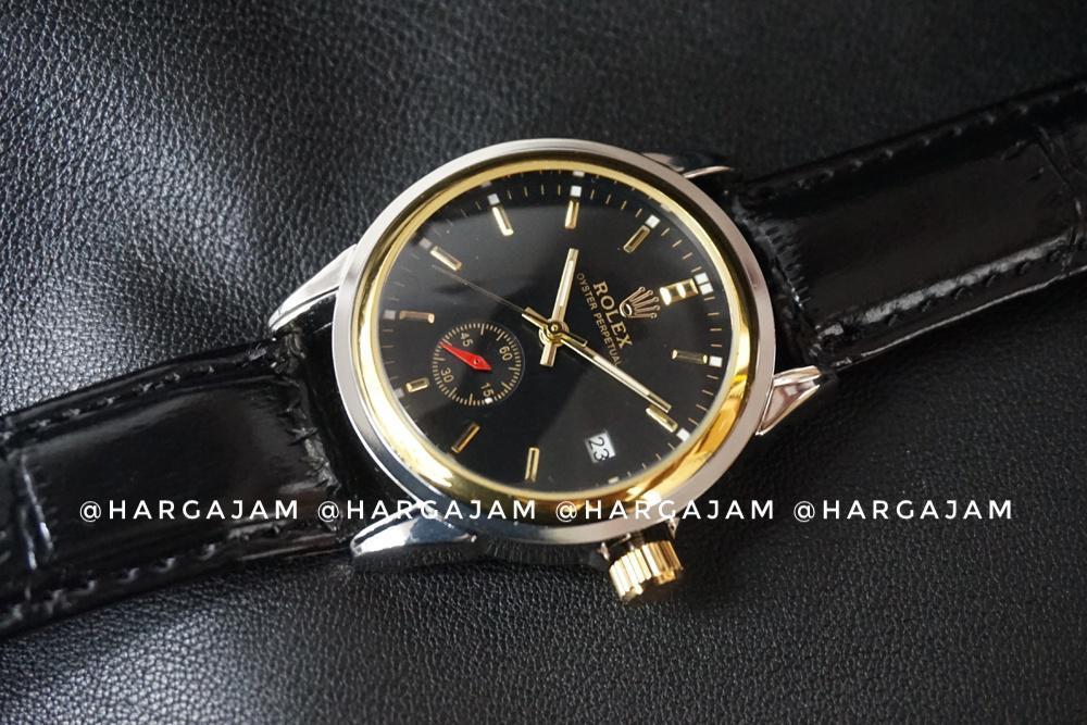 Jam Tangan Automatic Rolex Oyster Perpetual R0936 Strap Leather Black (Hargajam Matic Otomatis)