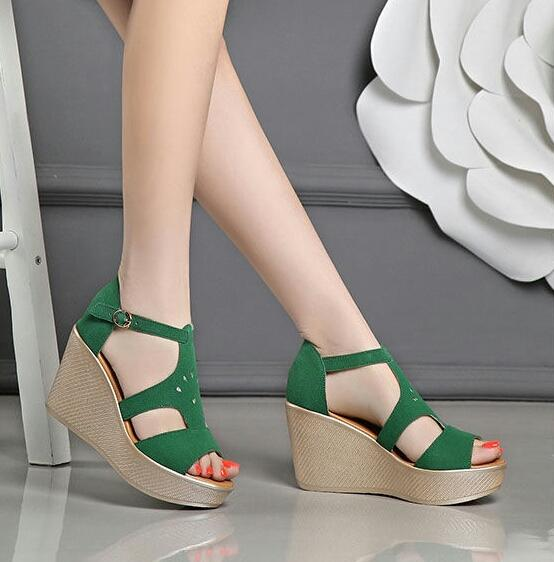 MZ SHOES - Sandal wanita wedges bludru hijau