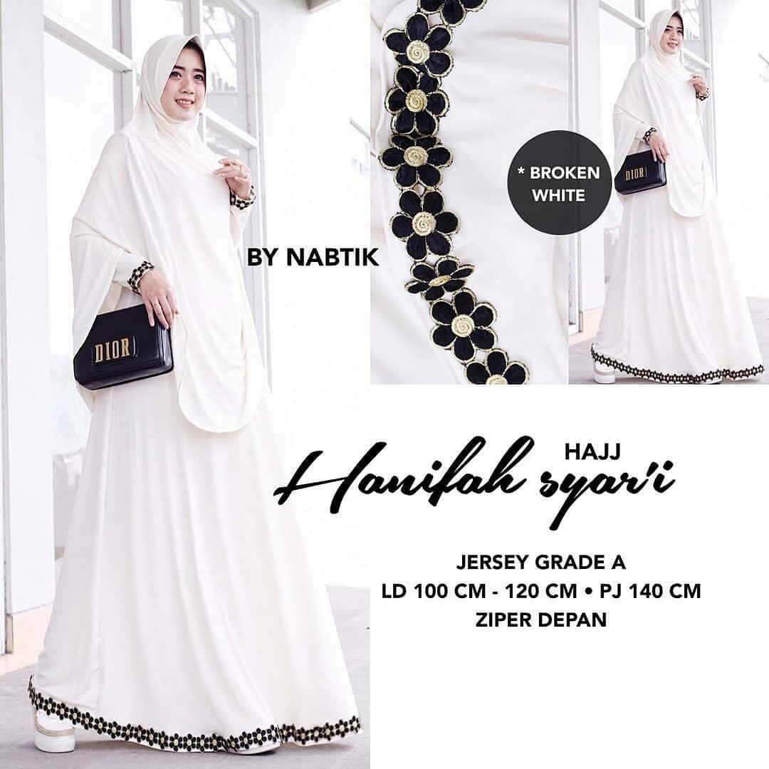 Baju Muslim Original Gamis Hanifah Syari Dress + Kerudung Jersey Super Baju  Panjang Muslim Dress Casual cb865db26e