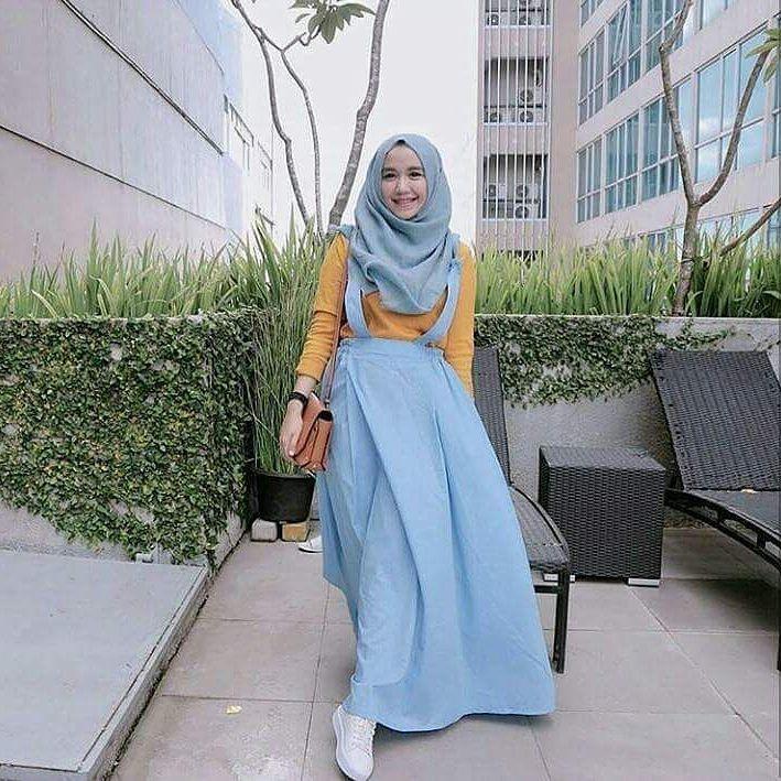 "Setelan Jumpsuite ""BC OCHA OVERALL"" Wanita Bahan Balotely Jeans Katun Rubiah Baju Panjang Muslimah Hijab Moderen Trendy Fashionable"