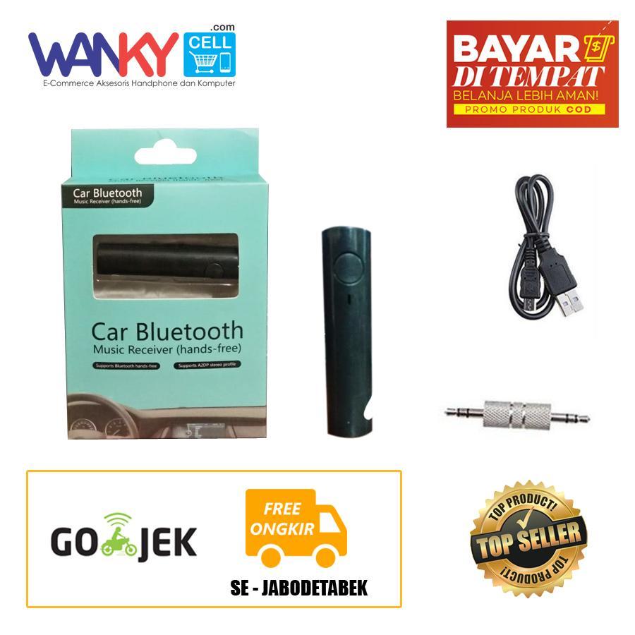 Car Bluetooth Music Receiver Wireless Stereo Audio 3.5mm Silindris - Hitam