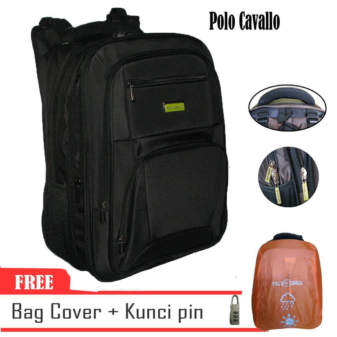 Polo Cavallo 77132 Backpack Expandable Impor Bonus Kunci Pin Hitam Asli