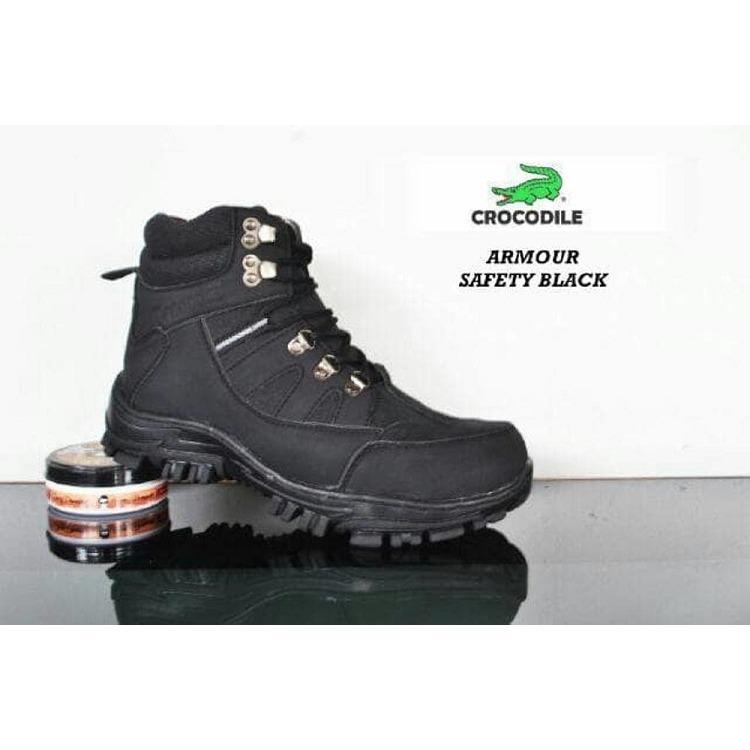 Harga Sepatu Ankle Boots Stylish N Kokoh Pria Crocodile Safety Armour Termurah Black Crocodile Online