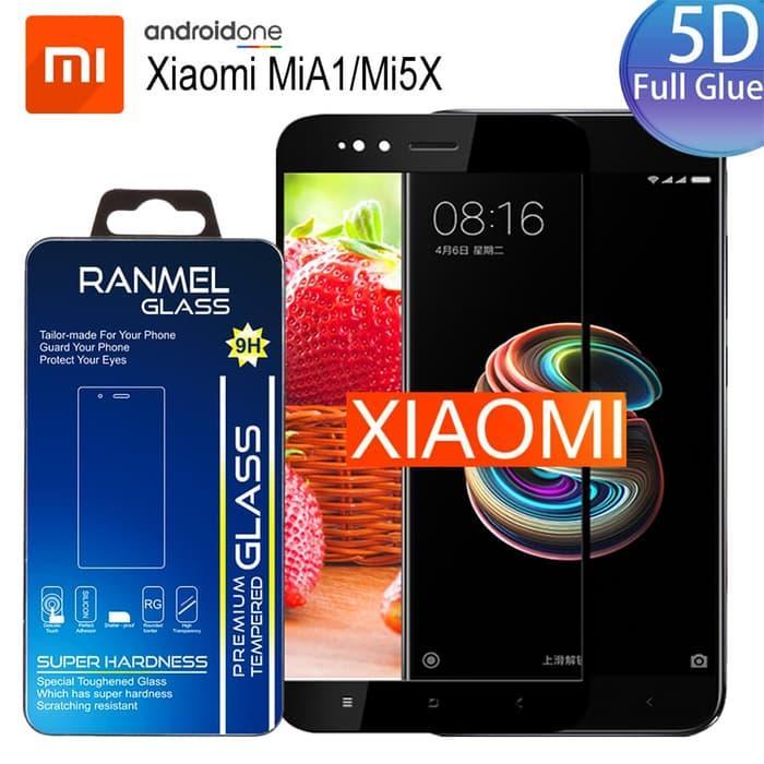 Full Glue / Full Lem Tempered Glass 5D 9H Xiaomi MiA1/Mi5x Hitam Black Full