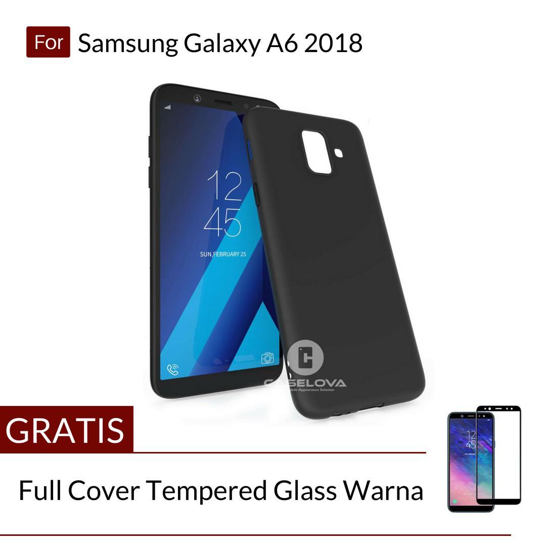 Caselova UltraSlim Black Matte Hybrid Case for Samsung Galaxy A6 2018 - Black + Gratis Full