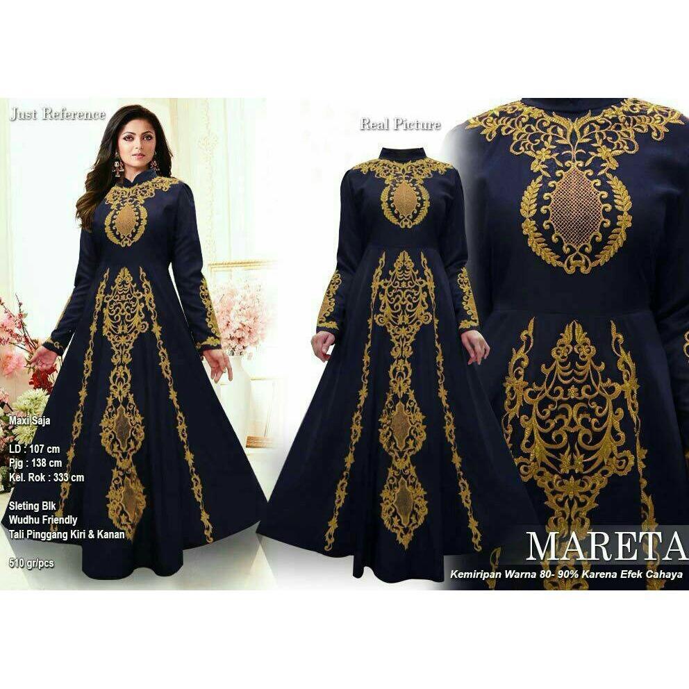 SM Grosir SM4015 Baju Muslim / Bahan Premium / Long Dress Gamis / Setelan Gamis / Gamis Syari / Baju Wanita / Gamis Cantik / Bordir Benang Emas
