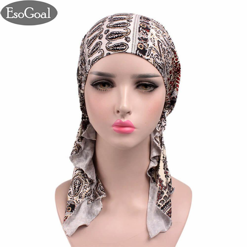 Harga Esogoal Women Muslim Hijab Pre Tied Bandana Turban Chemo Head Wrap Scarf Sleep Hair Cover Hat Headwear Online Tiongkok
