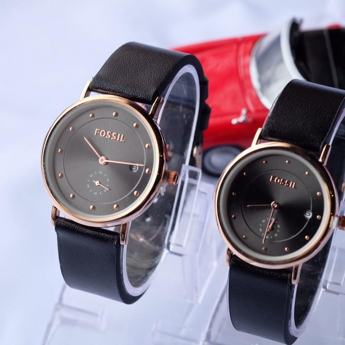 Jam Tangan Pasangan Fossil Couple SK700 Leather Hitam Rosegold .