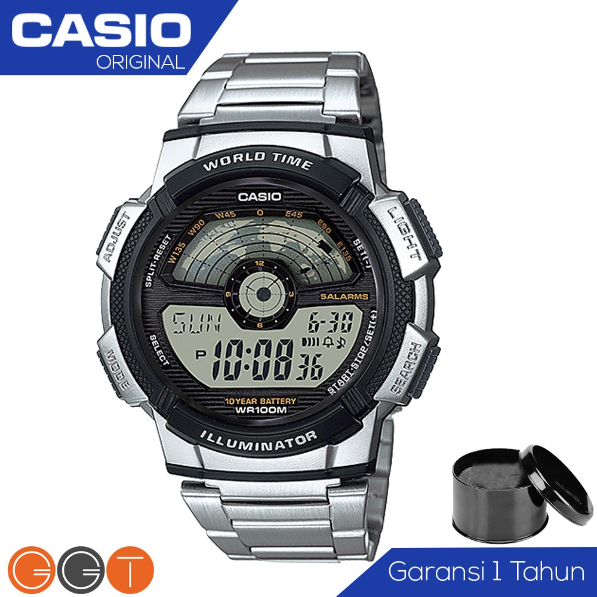 CASIO Illuminator AE-1100WD-1AVDF - Jam Tangan Pria - Tali Logam Stainless Stell - Digital Movement - Silver Hitam