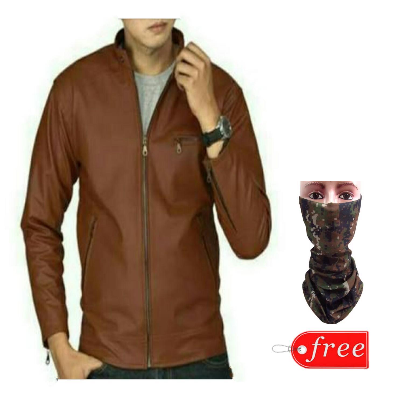 Asgarcollection- jaket kulit semi polos free buff