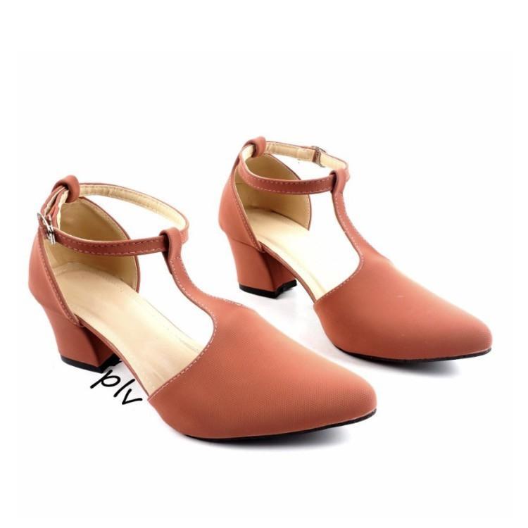 Sepatu high heels pantofel kerja pesta wanita t-strap CH02 - Hitam / maroon /