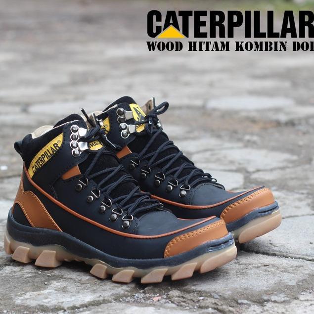 Sepatu Caterpillar Boots Safety Wood Warna Hitam