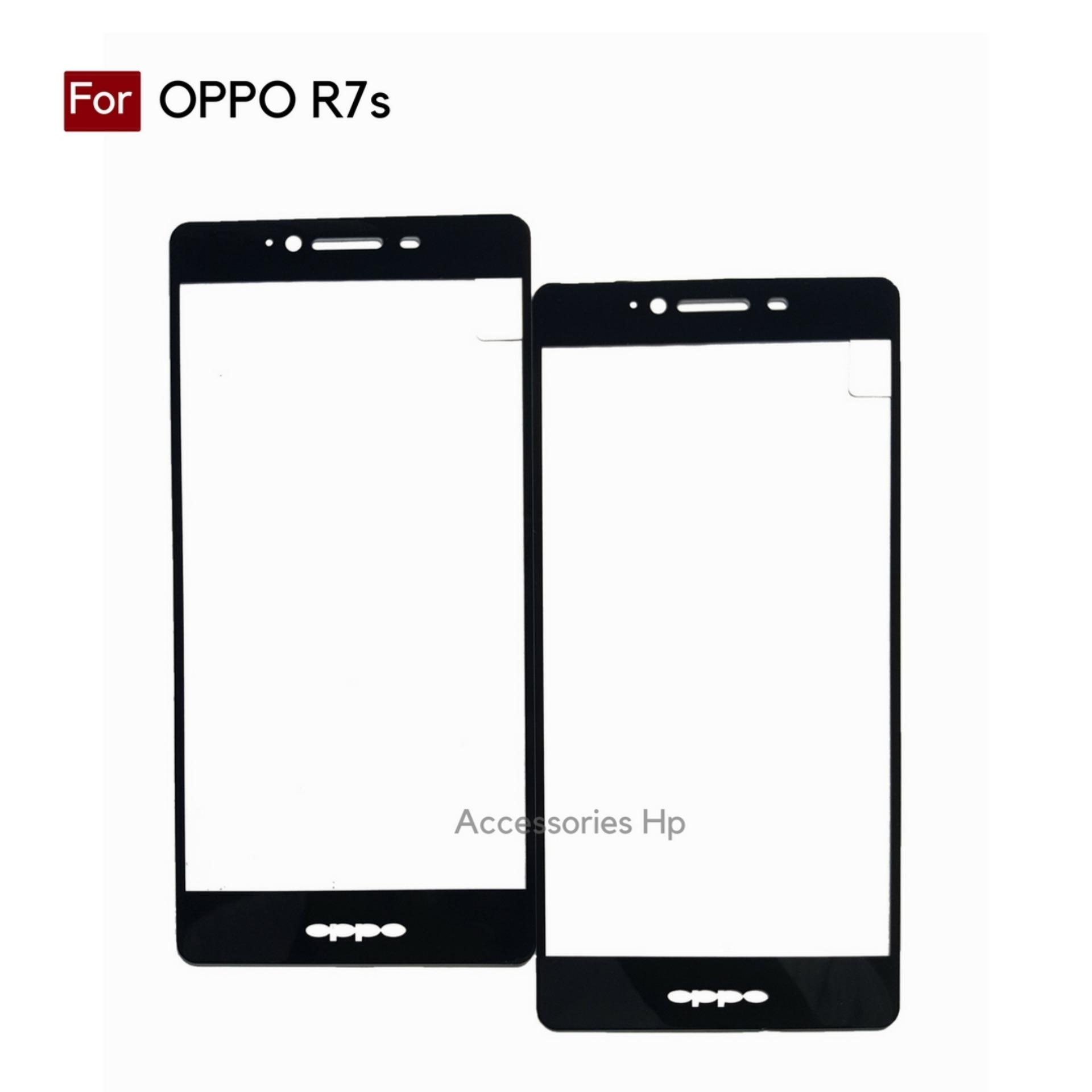 Accessories Hp Full Cover Tempered Glass Warna Screen Protector for Oppo R7s Hitam