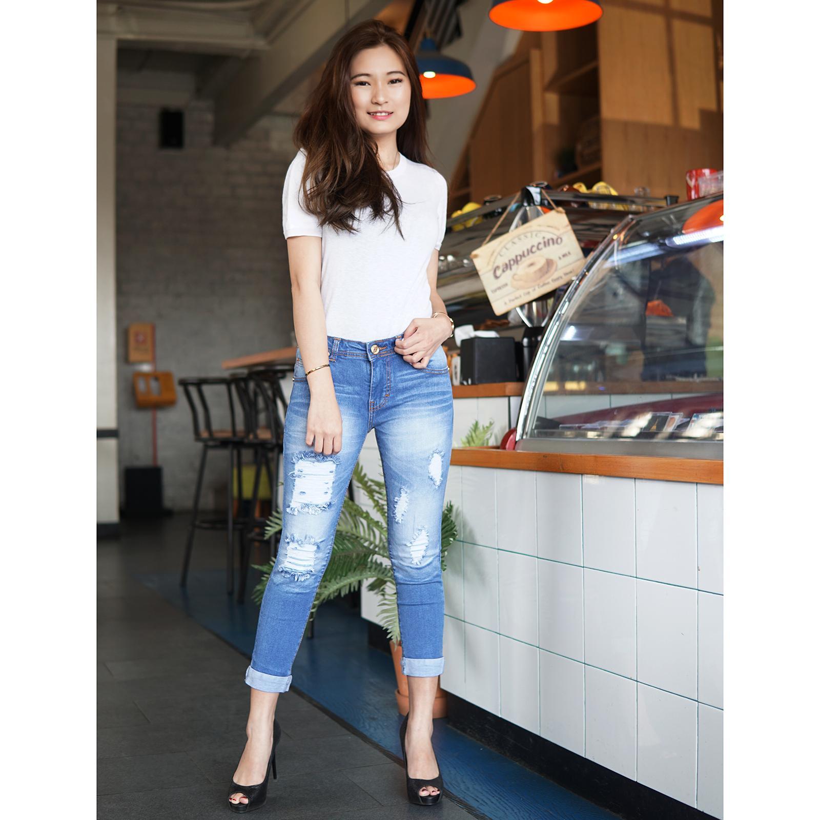 Fitur Rumah Jeans Celana Jumbo Wanita 7per9 4848 Skinny Big Size Ripped Sobek Lapis 793