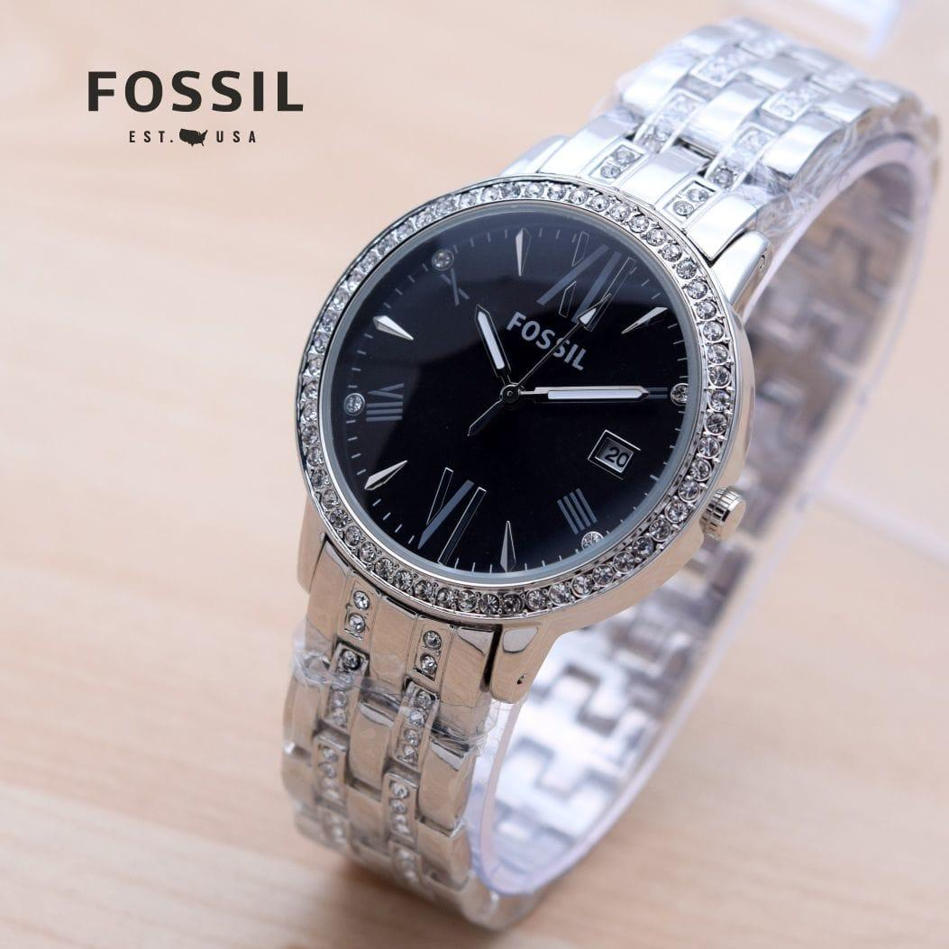 New Edition Fossil Jam Tangan Wanita Fashion Casual Dan Exclusive Es3960 Original Detail Gambar Romawi Hitam Silver Rose Gold Tangga Terbaru