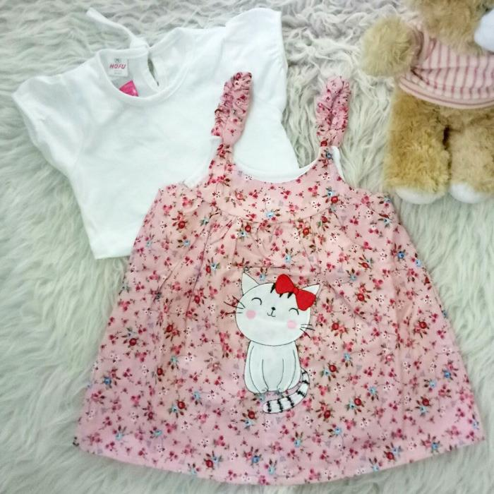 Diskon Setelan Overall Baju Rok Bayi Anak Dress Flower And Cat Branded