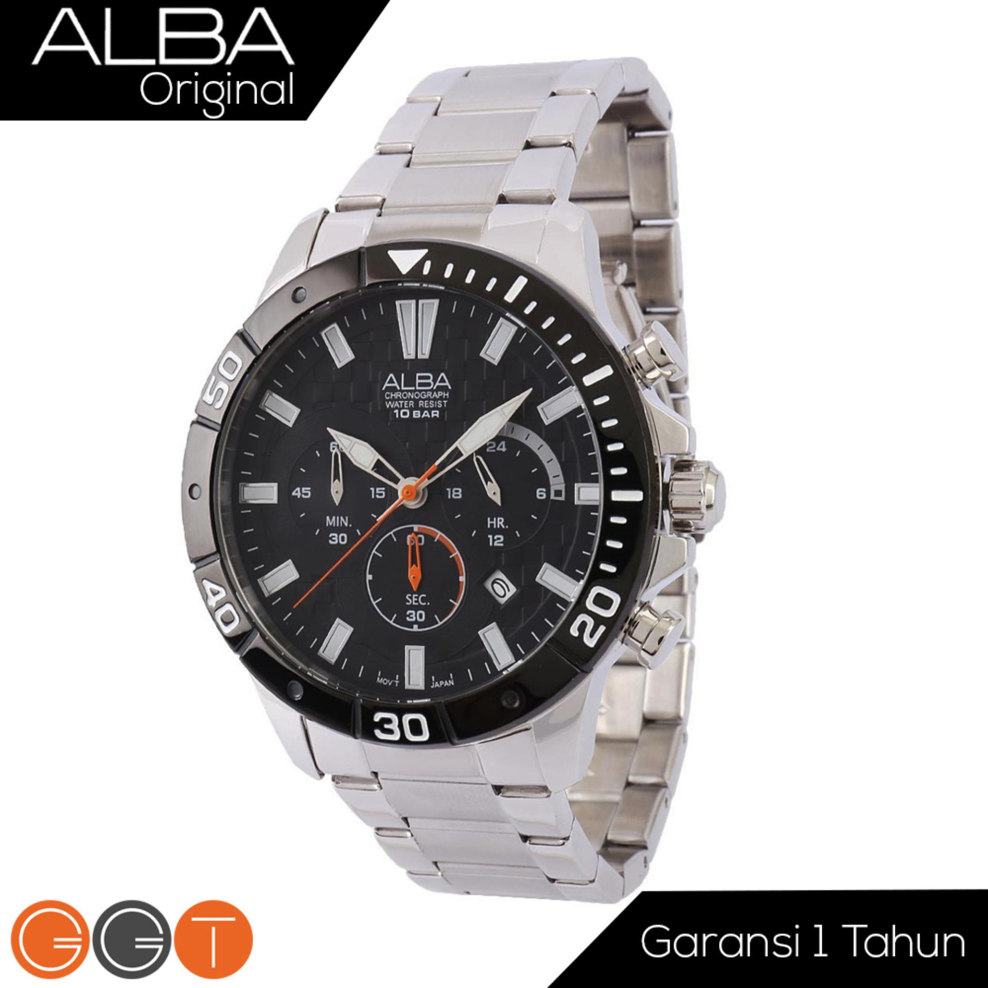 Alba Chronograph Jam Tangan - Strap Stainless Steel - AT3A07X1 - Gold White