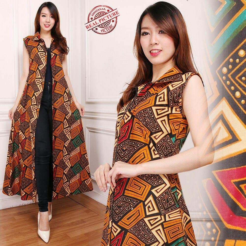 Glow Fashion Blazer 2in1 batik dress maxi panjang atasan blouse long tunik kemeja wanita jumbo long dress Adena