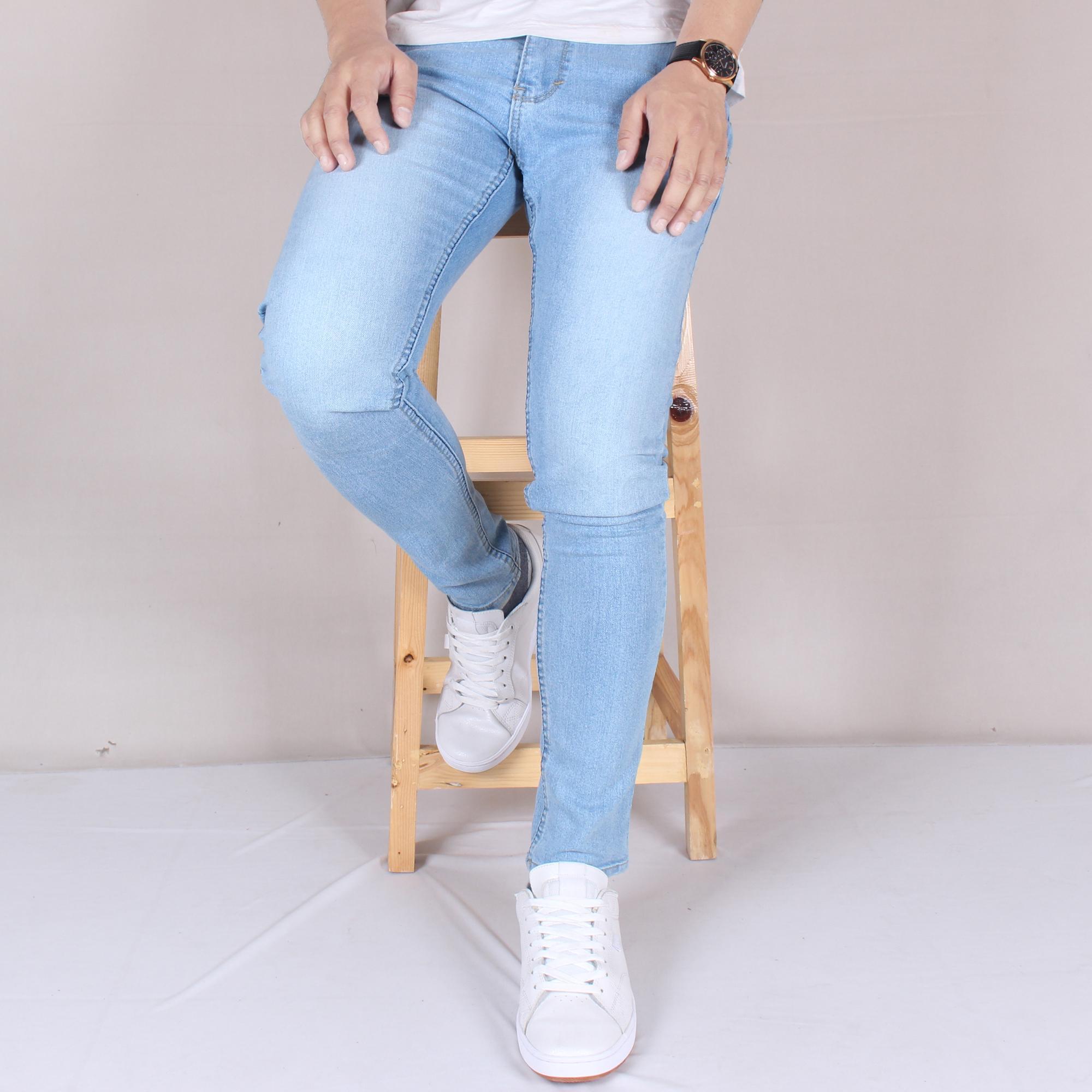 ... Zs-fashion 6008 Celena Jeans Panjang Pria Celana Jeans Skinny Cowok Skinny Jeans Blue Sky