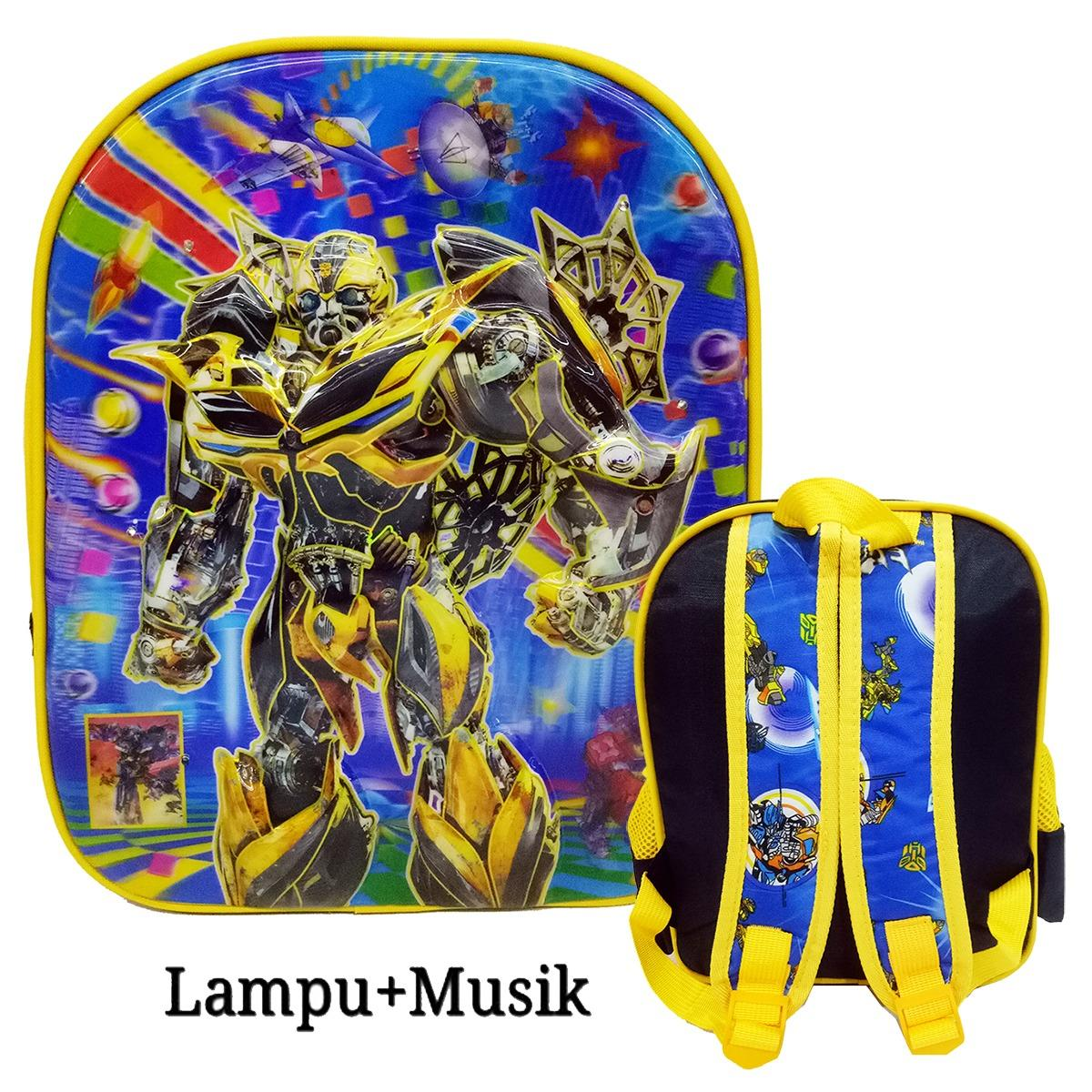 Jual Onlan Transformers 5D Lampu Timbul Hologram Anti Gorestas Ransel Anak Sekolah Tk Play Group Import Blue Murah