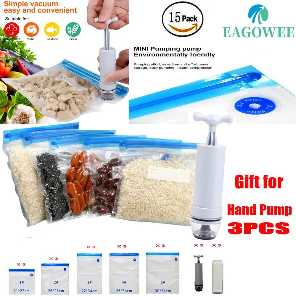 Katalog 15 Pcs Paket Reusable Food Vacuum Sealed Storage Bags Savers Dengan Hand Pump Vacuum Sealer Praktis Untuk Penyimpanan Makanan Dengan 3 Bpa Free Food Saver Bags 1 Hand Pump 15Pcs Bag Sealing Clip Eagowee Terbaru