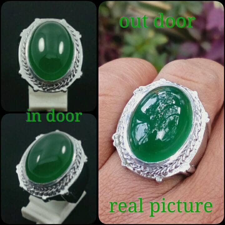 Diskon Promo Perhiasan Aksesoris Cincin batu akik green chalsedony like ijo garut super grade A Murah