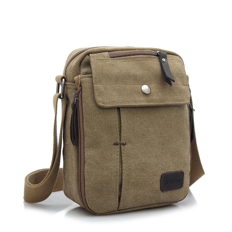 Beli Tas Pria Men Vintage Canvas Multifunction Travel Satchel Messenger Shoulder Bag Khaki Cicil