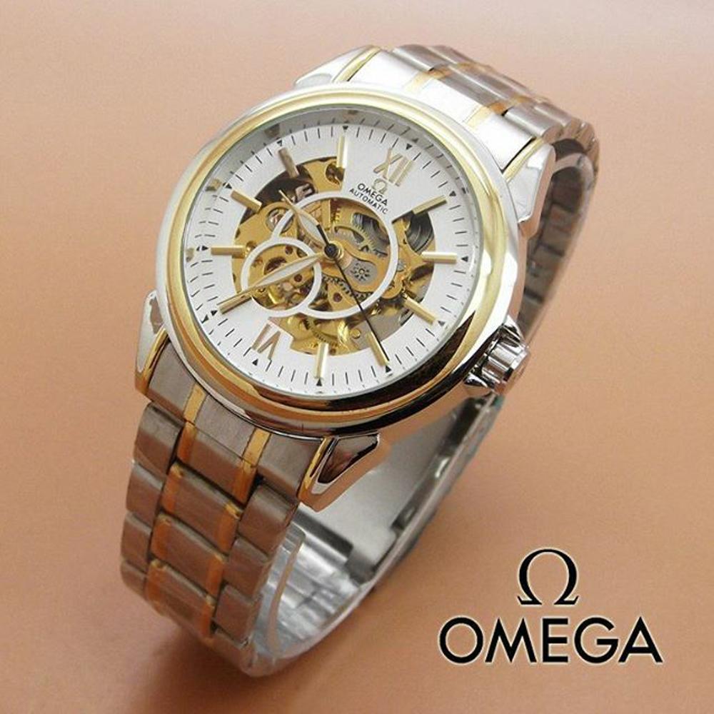 Jam Tangan Automatic Omega R0652 Rantai Kombi Silver-Gold Plat Putih (Hargajam Harga Jam Matic Otomatis)