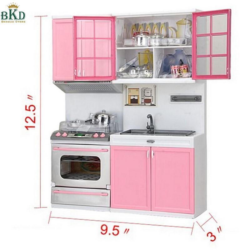 Bkodak Toko 1 Set Plastik Dapur Mainan Dapur Mainan Memasak Playset Pink