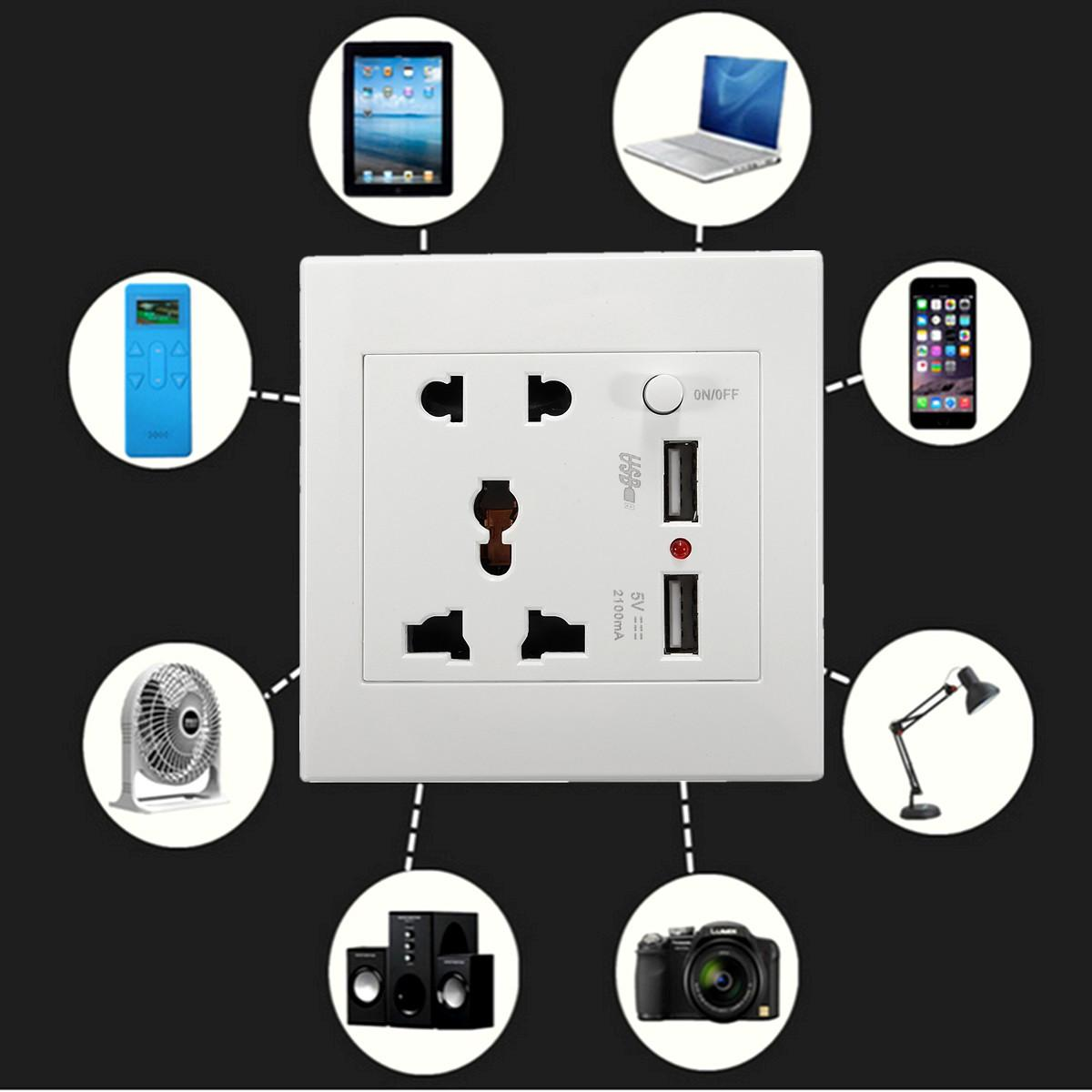 2.1A Dual USB Charger Dinding Adaptor Soket Universal Outlet Daya Panel W/Switch- ...