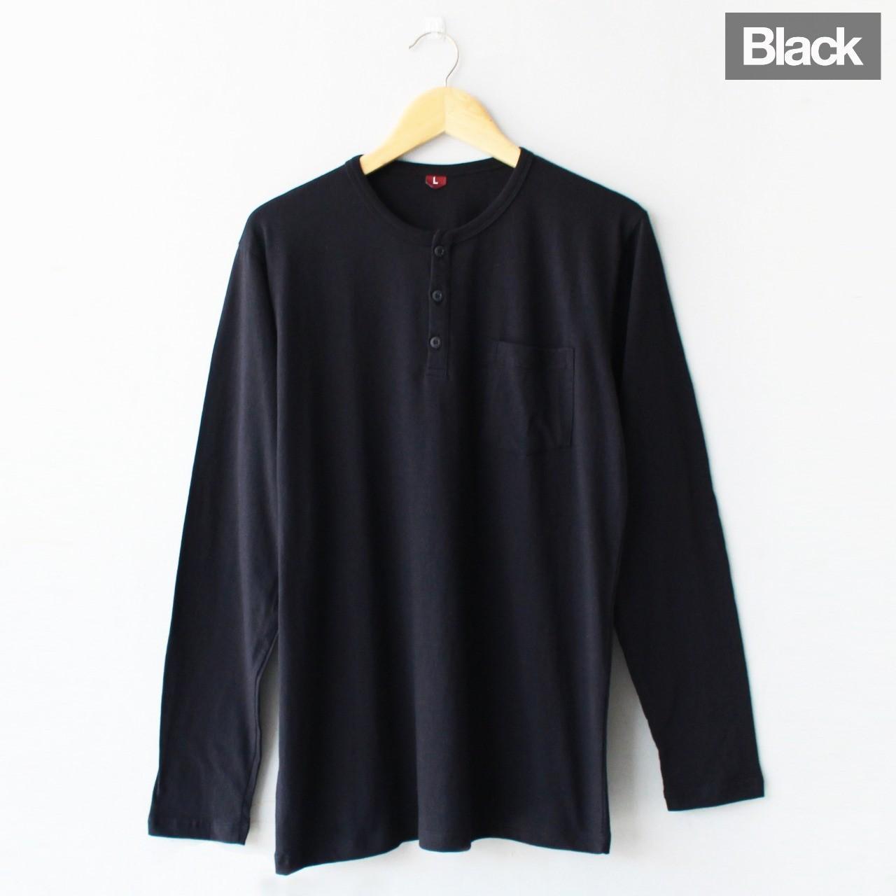 Fitur Radhe Kaos Cowok Lengan Panjang Polos 2 Kancing Hitam 6 Warna Maroon Solid Saku Henley Black