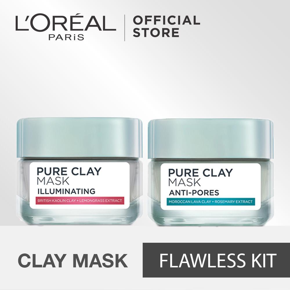 Harga L Oreal Paris Pure Clay Mix Mask Flawless Kit Online