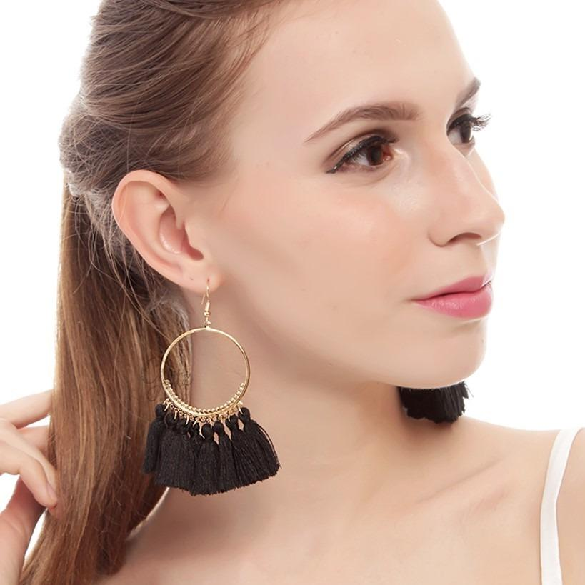 Glitzaksesoris - E-332 - Black Tassel Hoop Earrings Anting hoop tassel hitam